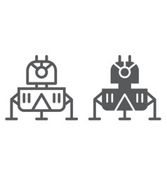 lunar module line and glyph icon science and vector image