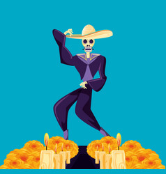 Mariachi skull day of the dead party vector