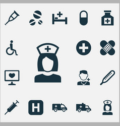 Medicine icons set collection of spike first-aid vector