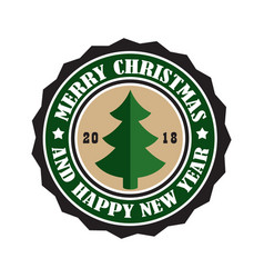 merry christmas 2018 sticker vector image