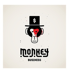 Monkey business - with ape face in hat Orig vector image