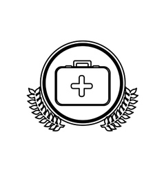 Monochrome circle with firts aid kit with symbol vector