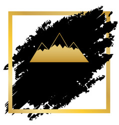 mountain sign golden icon at vector image