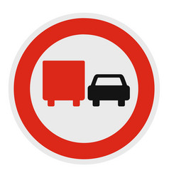 No lorry overtaking icon flat style vector