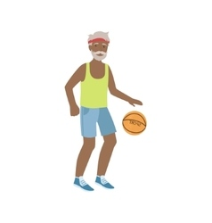 Old Man Playing Basketball vector