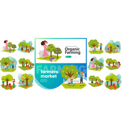 Organic farming and farmers market set vector