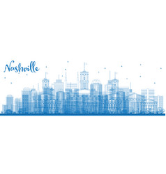 outline nashville skyline with blue buildings vector image