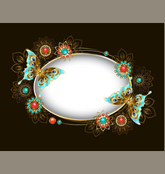 Oval banner with turquoise butterflies vector