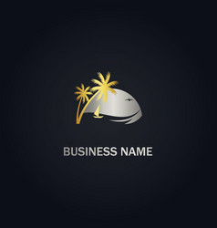 palm tree beach sunset gold logo vector image