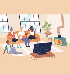 People watch tv friends together in living vector