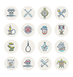 pirates line icons set vector image