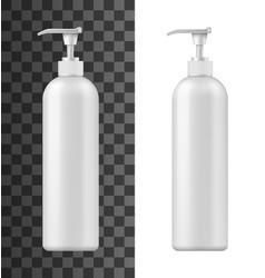 plastic bottle with pump dispenser 3d mockups vector image