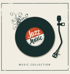 poster for good old jazz music with vinyl record vector image
