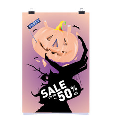 Poster halloween sale and party event template vector