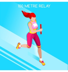 Running Relay 2016 Summer Games Isometric 3D vector