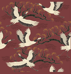 seamless pattern with cranes birds and trees vector image