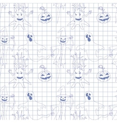 Seamless pattern with monsters in notebook Print vector image