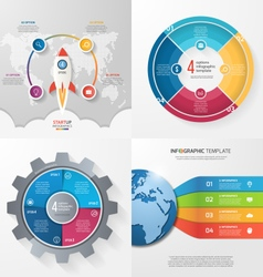 Set 4 infographic templates with 4 processes vector