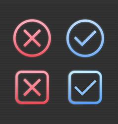 set cross mark and check mark icon vector image