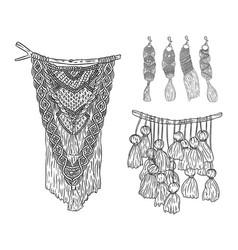 Set macrame boho style wall hangers and vector