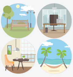 Set of workplace and relax round web banners in vector