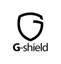 shield initial black line letter g logo concept vector image