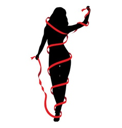 silhouette a girl vector image
