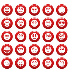 smile icon set vetor red vector image