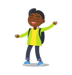 Smiling kid in green jacket jeans with rucksack vector