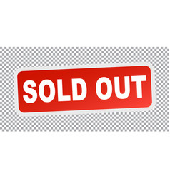 Sold out red flat vector