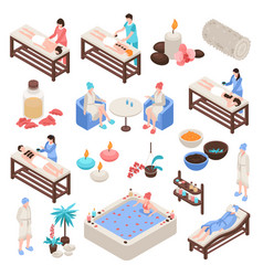 Spa and beauty isometric set vector