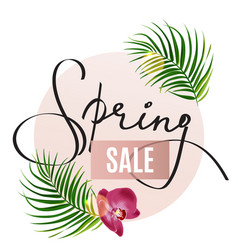 Spring sale store design poster realistic palm vector