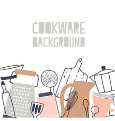 Square backdrop decorated with various kitchenware vector