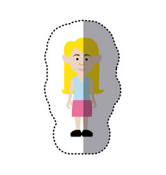 Sticker colorful picture teenager with long hair vector