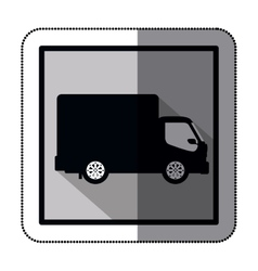 Sticker silhouette transport truck with wagon and vector
