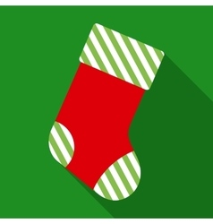 Striped christmas sock in flat style vector