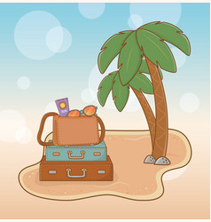 suitcases vacations on beach scene vector image