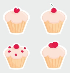 Sweet cupcakes set silhouettes with red cherry vector image