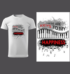 T-shirt design with piano keyboard vector