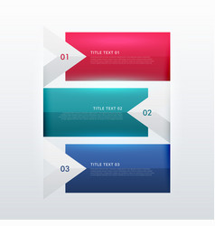 three steps option infographic template in arrow vector image