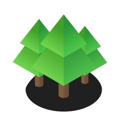Three tree 3d isometric icon vector image