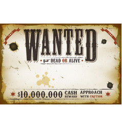 Wanted vintage western poster vector
