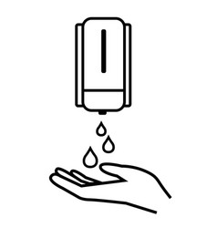 washing hand with soap line icon antiseptic bottle vector image