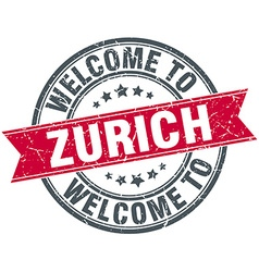 Welcome to Zurich red round vintage stamp vector
