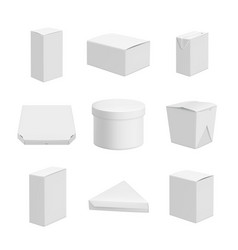 white packages realistic template of empty packs vector image