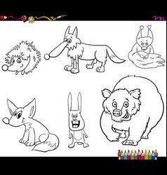 wild animal characters set coloring book vector image