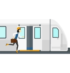 Woman missing train vector image