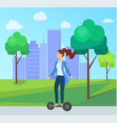 woman riding segway in green city park with trees vector image
