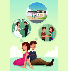 young couple imagining their life together vector image