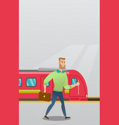 young man walking on a railway station platform vector image
